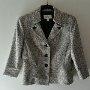 Le Suit black &white blazer